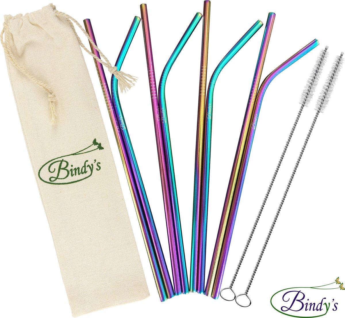 Bindy's Gekleurde rvs/metalen rietjes - Herbruikbare set van 8 gekleurde RVS rietjes, lengte 21,5 cm-Stijlvol, Functioneel en Duurzaam, Incl. 2 Schoonmaakborsteltjes en linnen bewaarzakje