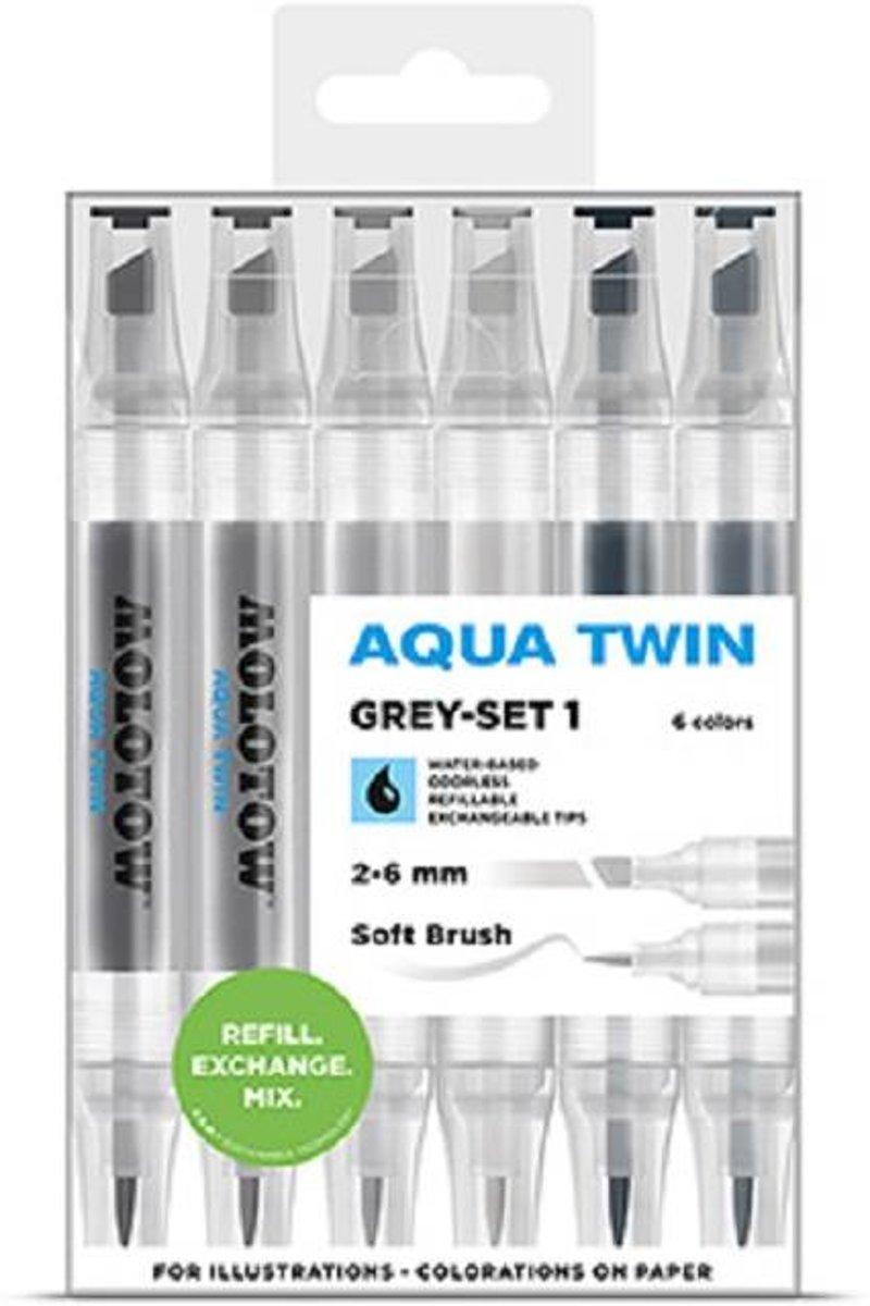 Molotow  Aqua twinmarker set grey 6dlg