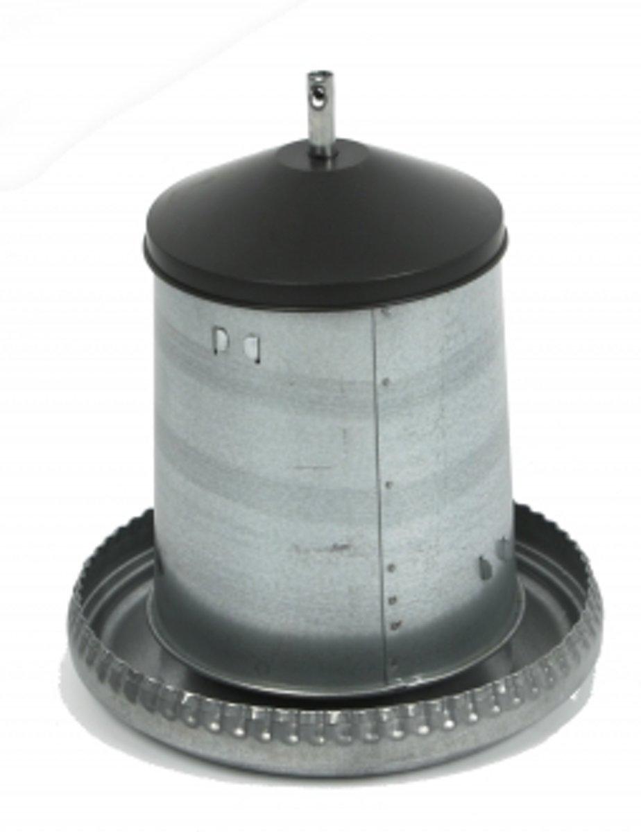 Duvo+ Kippenvoersilo Galvanise Met Deksel - Voerbak - Zilverkleurig