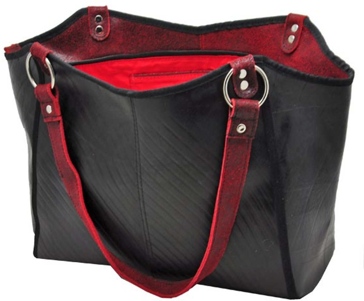 f58d724483c bol.com | Made in Barrio Merenque's shopper - Werktas - Leer - Rood