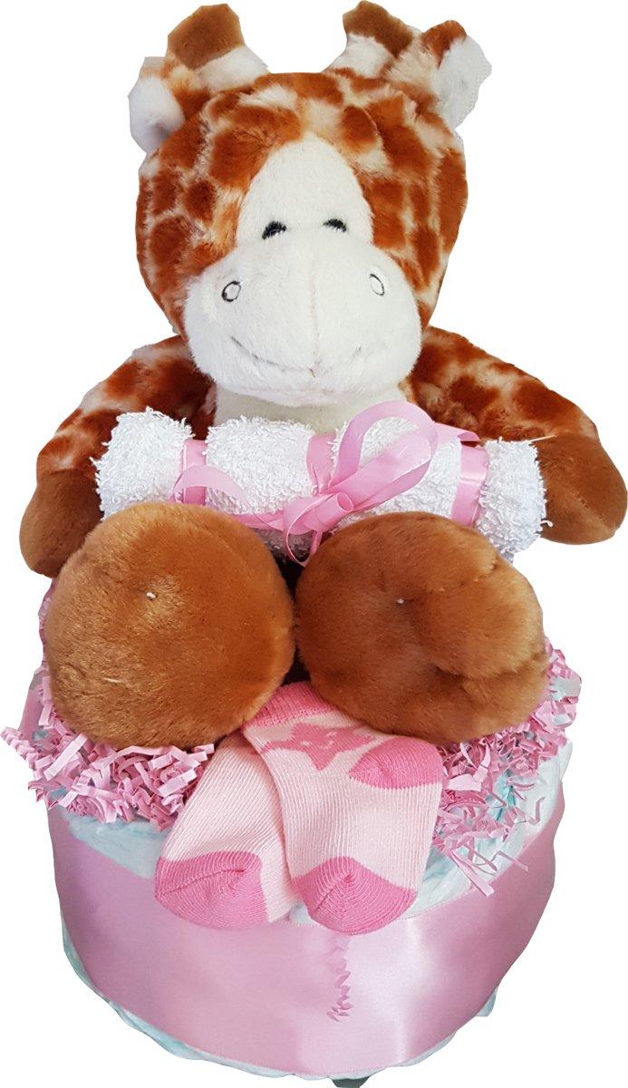 Luiertaart roze giraf