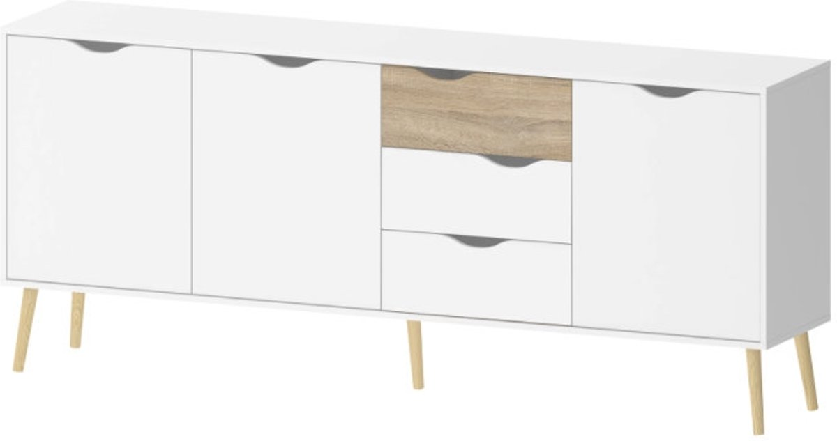 Dressoir 1 Meter Breed.Bol Com Tvilum Napoli Dressoir 195 Cm Breed Wit Eiken
