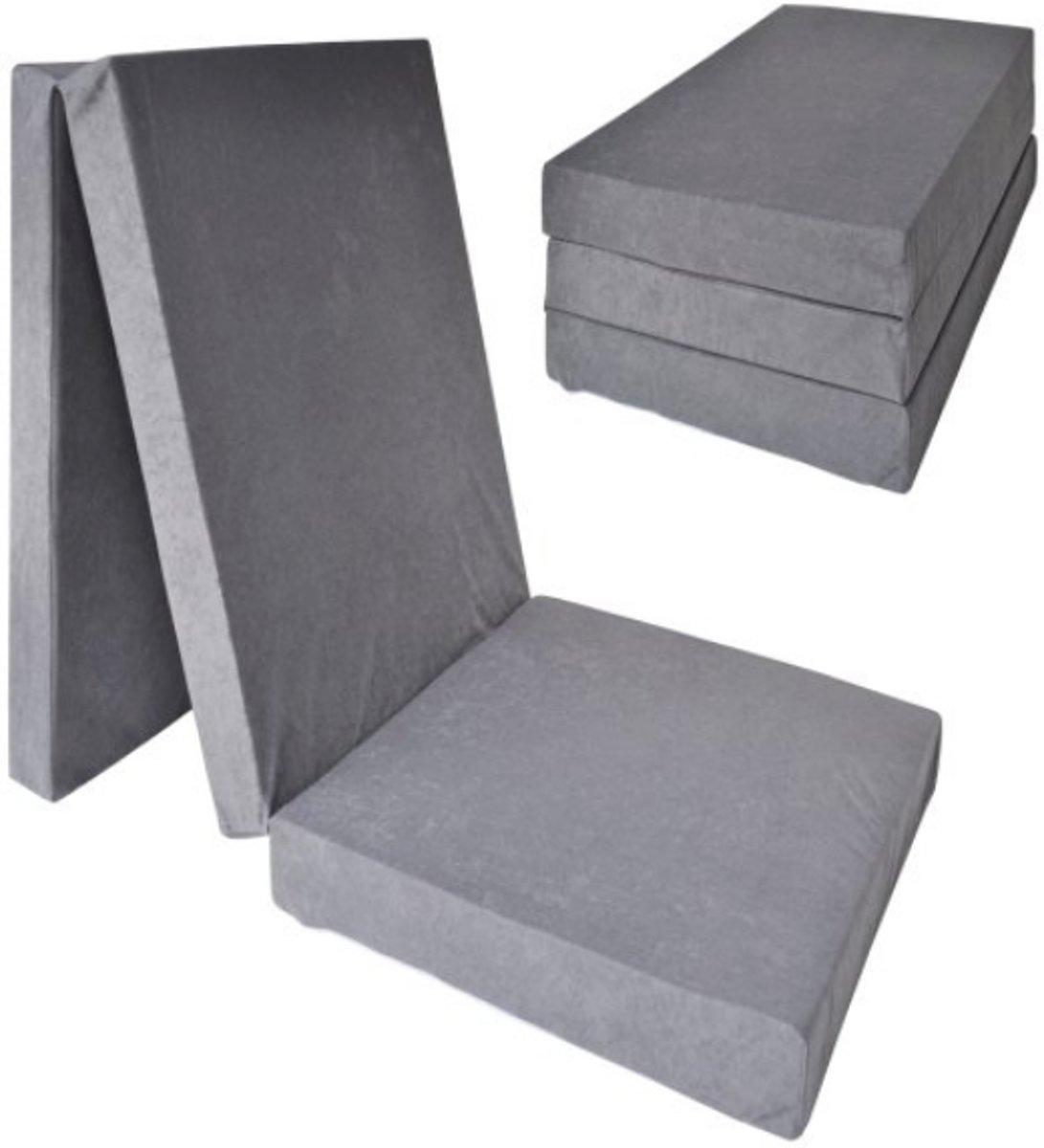 Logeermatras extra dik - grijs - camping matras - reismatras - opvouwbaar matras - 195 x 70 x 15