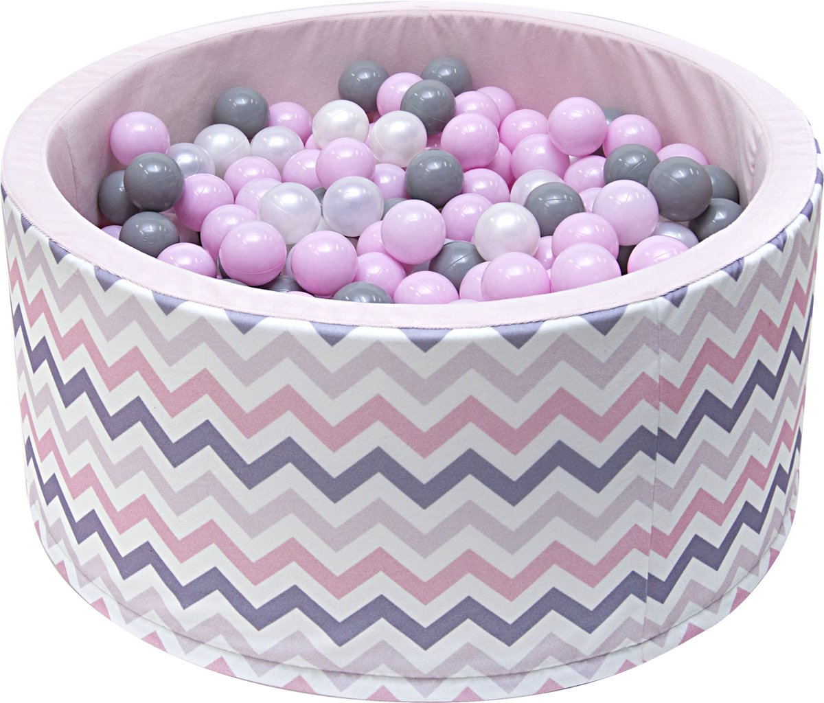 Ballenbak - stevige ballenbad -90 x 40 cm - 200 ballen Ø 7 cm - roze, wit, grijs en zilver