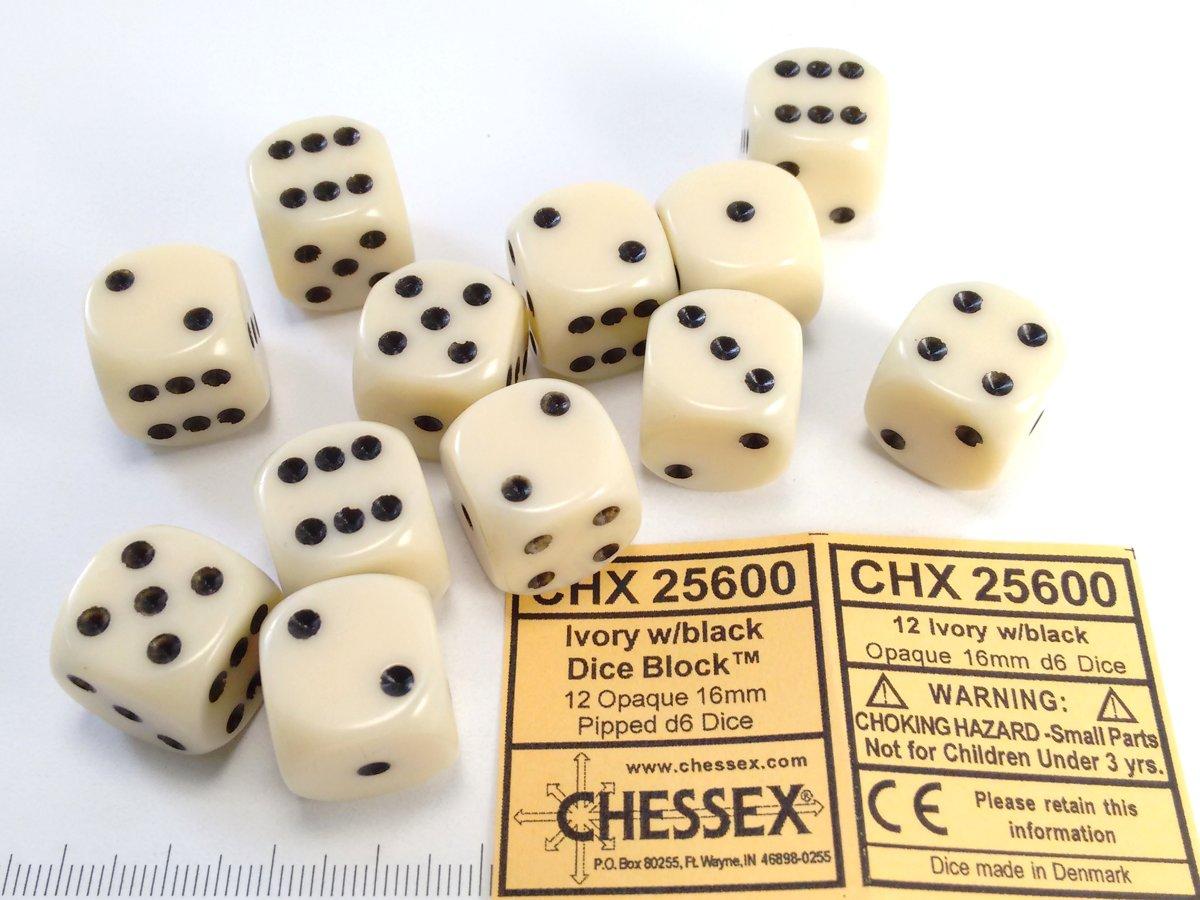Chessex dobbelstenen set, 12 6-zijdig 16 mm, ivoorkleurig