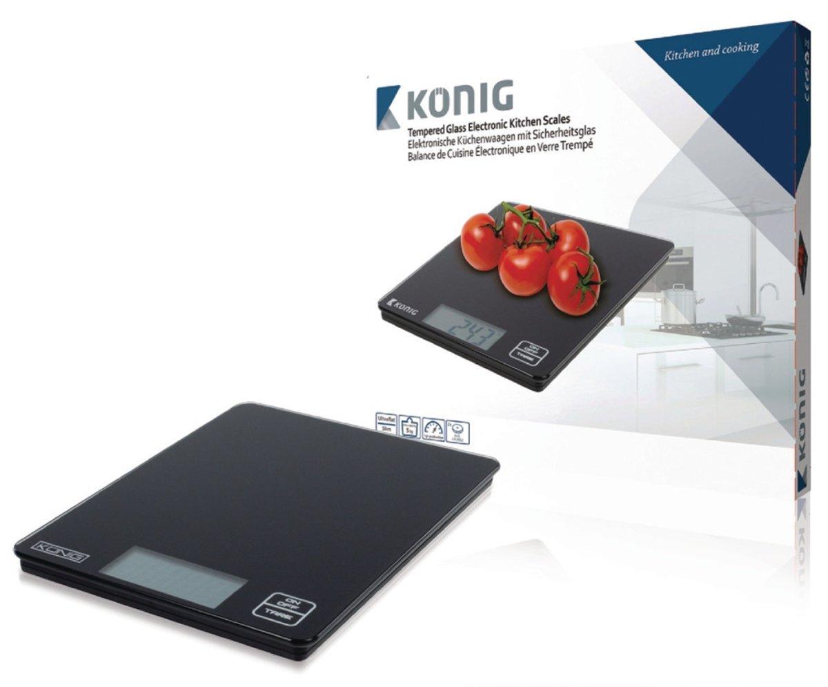 König Digitale keukenweegschaal zwart