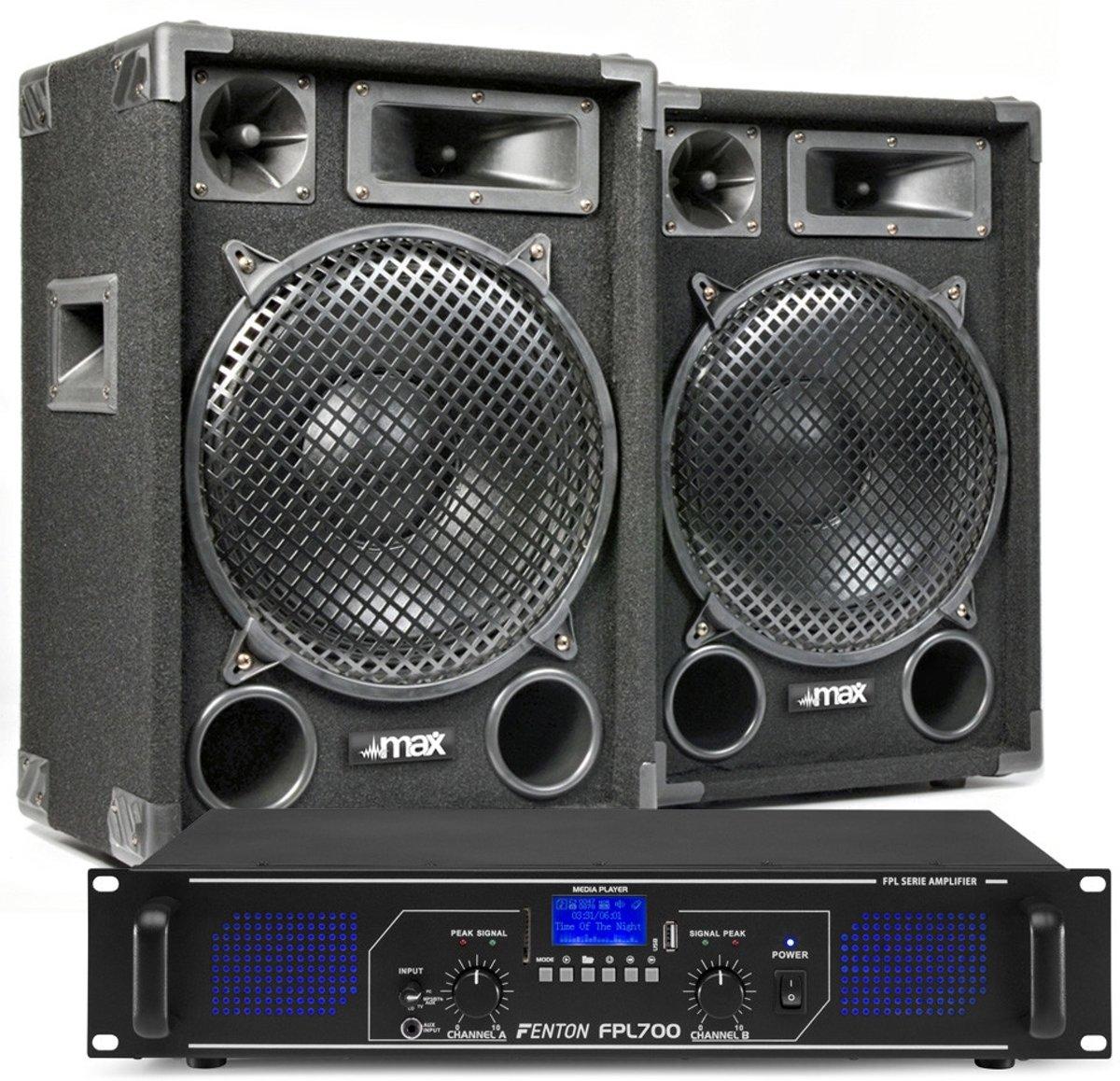 DJ geluidsinstallatie met Bluetooth - MAX12 DJ luidsprekers + Bluetooth versterker combinatie - 1400W kopen