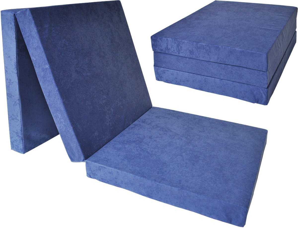 Logeermatras - navy blauw - camping matras - reismatras - opvouwbaar matras - 195 x 80 x 10