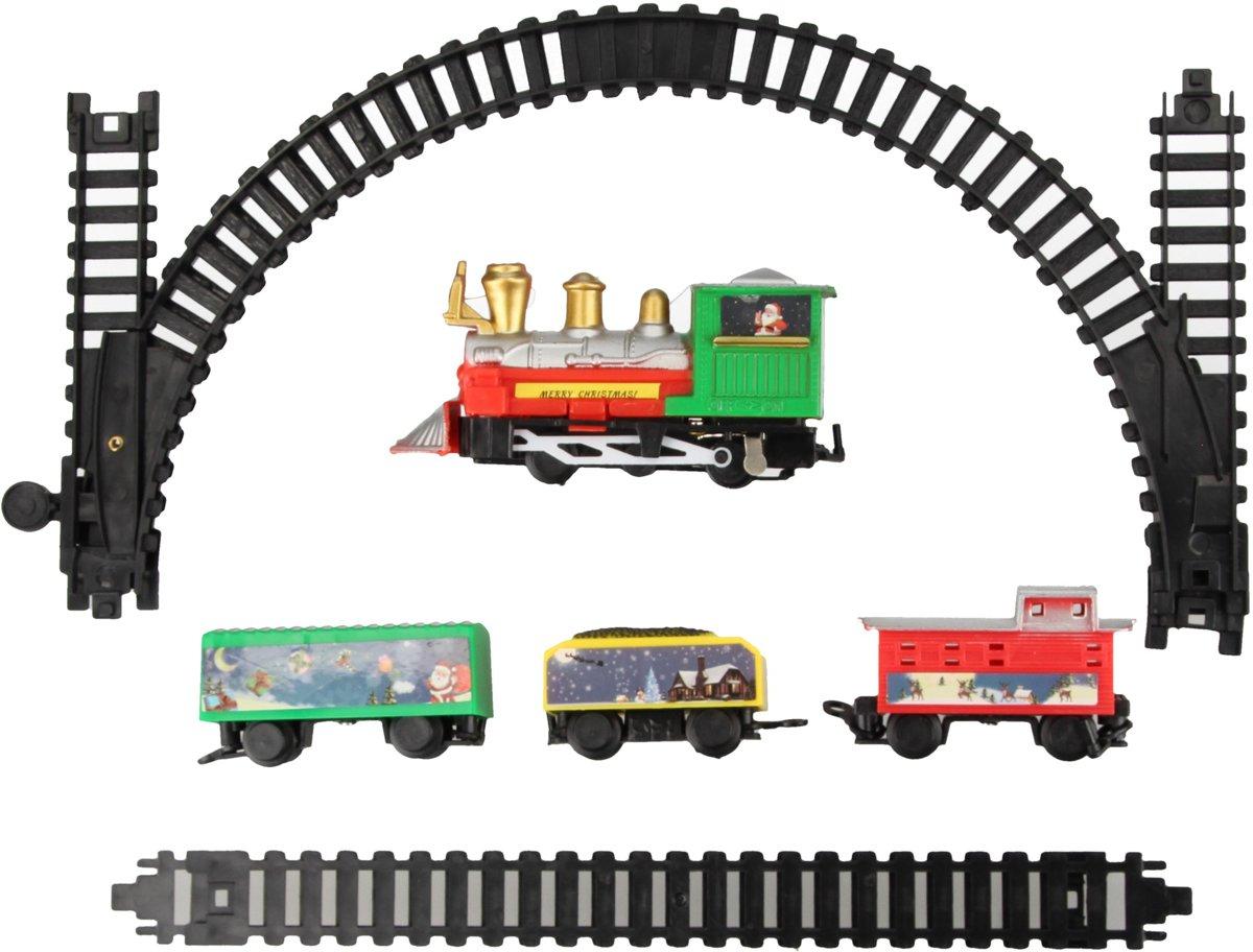 Kersttreintje set met Wagonnetjes en Rails – 17x30x4cm | Interactieve Kerstdecoratie voor Rondom de Kerstboom | Feestdagen kopen