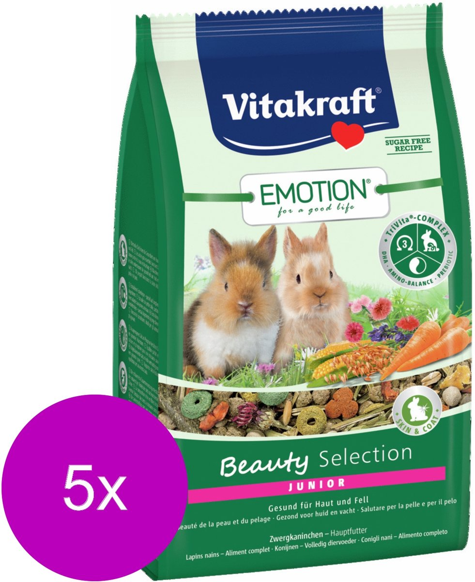 Vitakraft Emotion Beauty Selection Junior Konijn - Konijnenvoer - 5 x 600 g