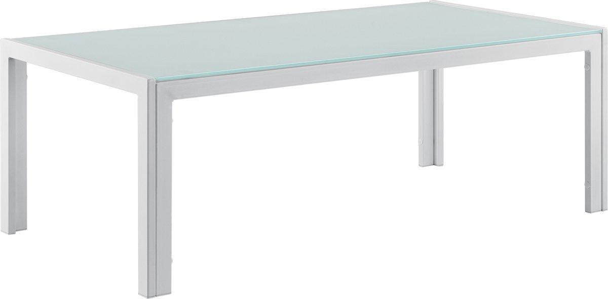 [casa.pro]® Glazen tuintafel - metalen frame - wit kopen