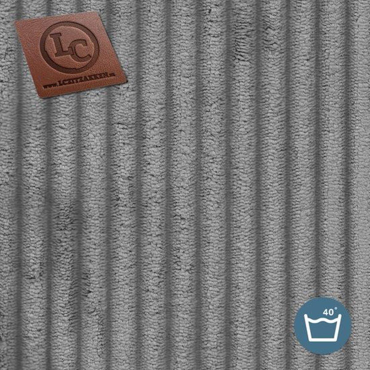 LC Zitzak hoes St. Trope M ribcord grijs - Wasbaar - Zacht en comfortabel kopen