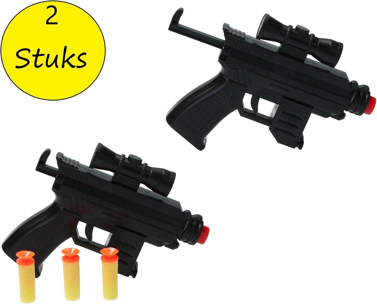 Speelgoed Pistool Duo Play set 2 stuks – voor Zachte Kogels en Darts – Soft Bullet Gun 16cm – Schiet Speelgoed – Soldier Combat