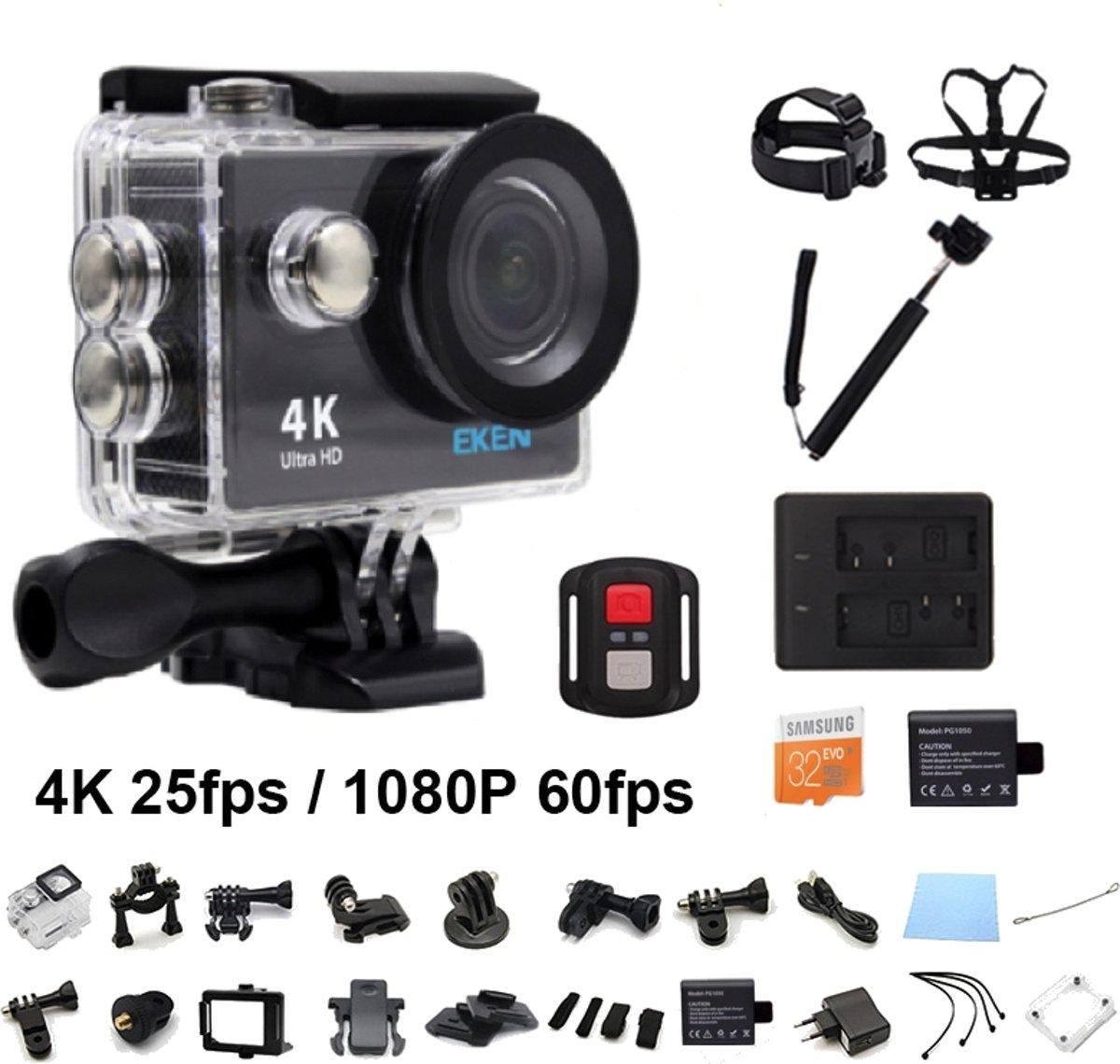 EKEN H9R 4K WiFi Action Cam met Afstandsbediening Complete Set   Lader + Extra Batterij   32GB MicroSD Kaart   Selfie Stick   Hoofdband + Borstband + Polsband