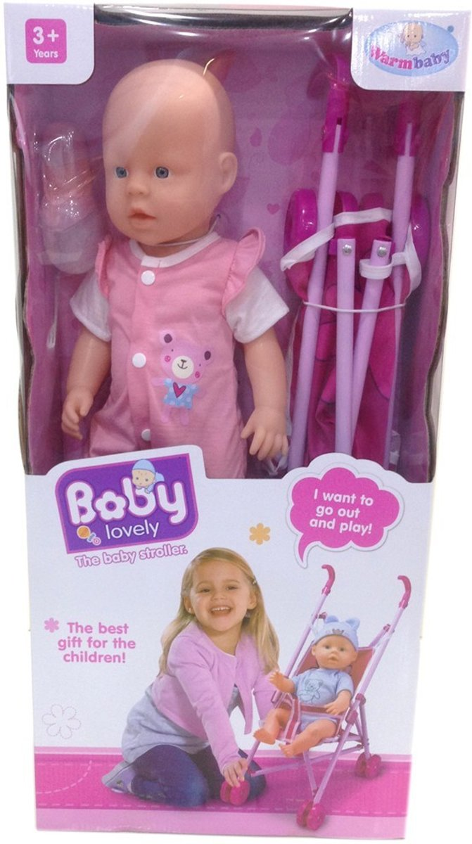 lieve babypop met wandelwagen 2in1, roze buggy en pop