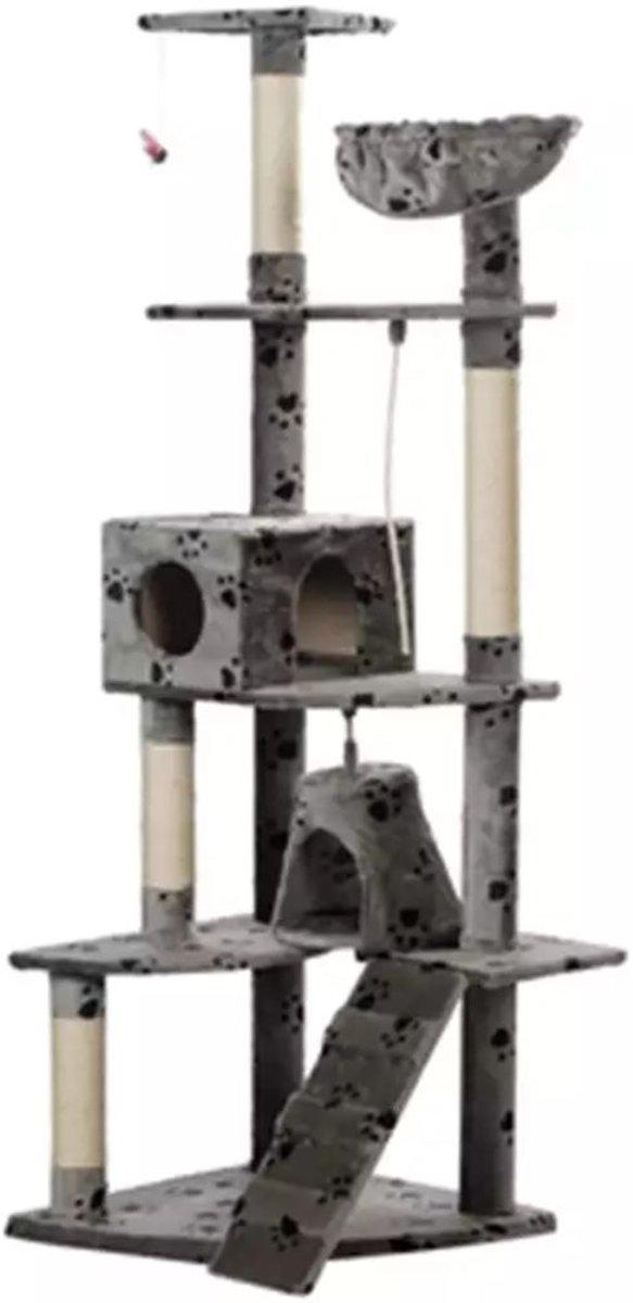 Krabpaal Jaapie 191 cm - Grijs met pootafdrukken