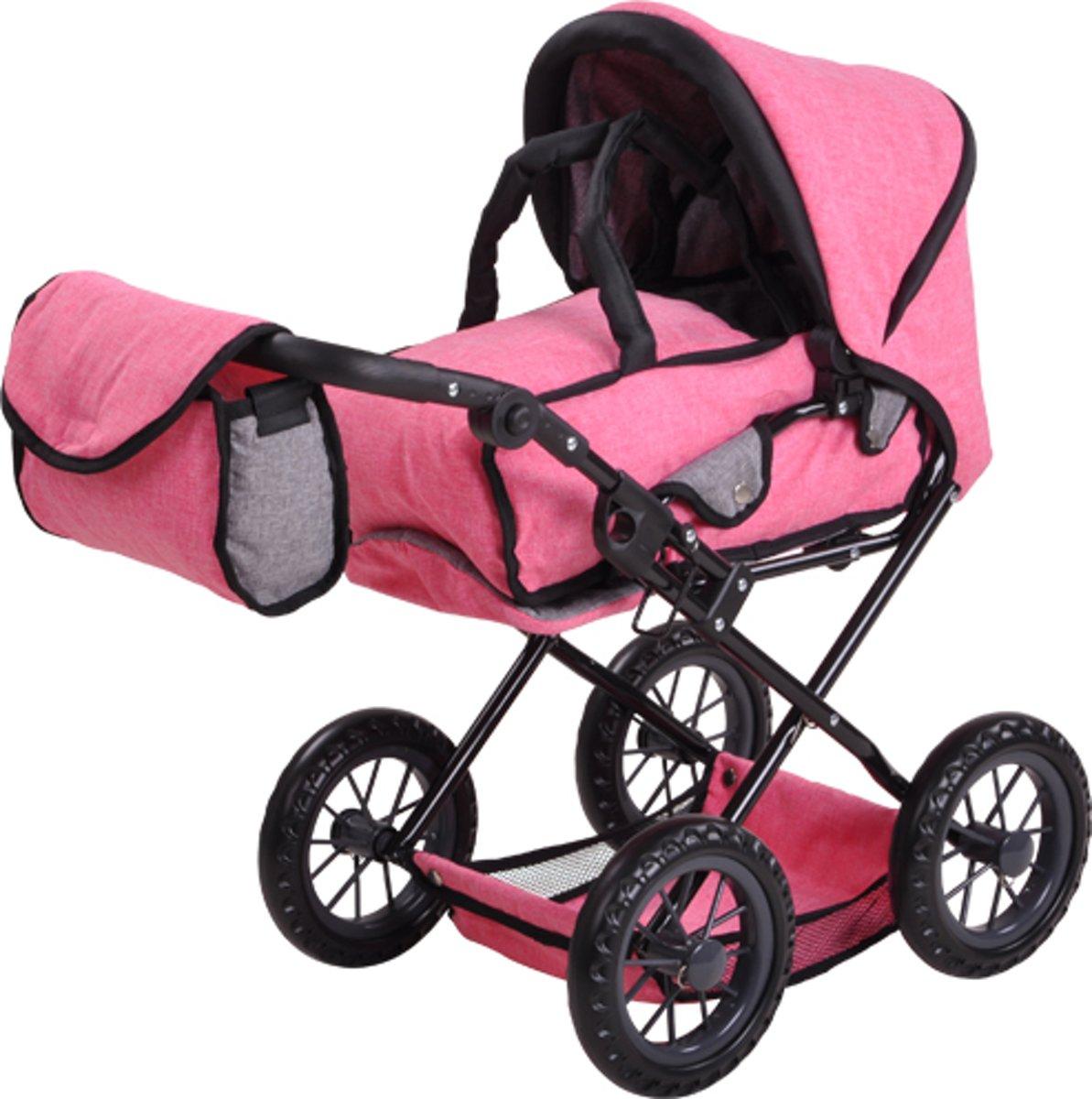 Knorrtoys combi poppenwagen jeans pink