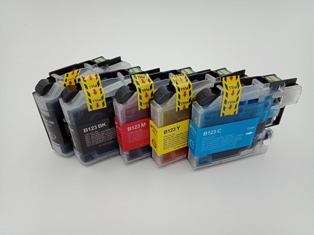 KATRIZ huismerk inkt voor Brother 2x LC123XL BK + LC123XL C+ LC123XL M+ LC123XL Y (5stuks) - Met chip kopen