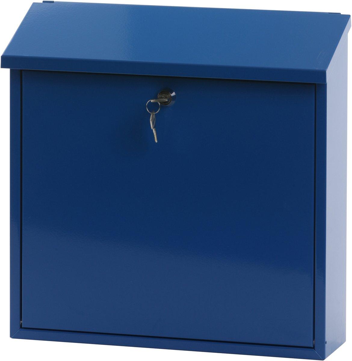Stalen brievenbus blauw - 11,5x37x37 cm