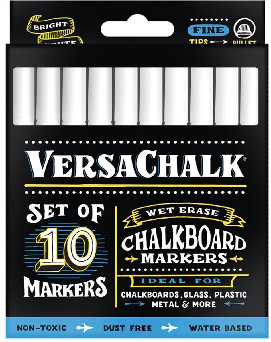 VersaChalk- Liquid Chalkboard Markers - fine - 10 stuks - wit