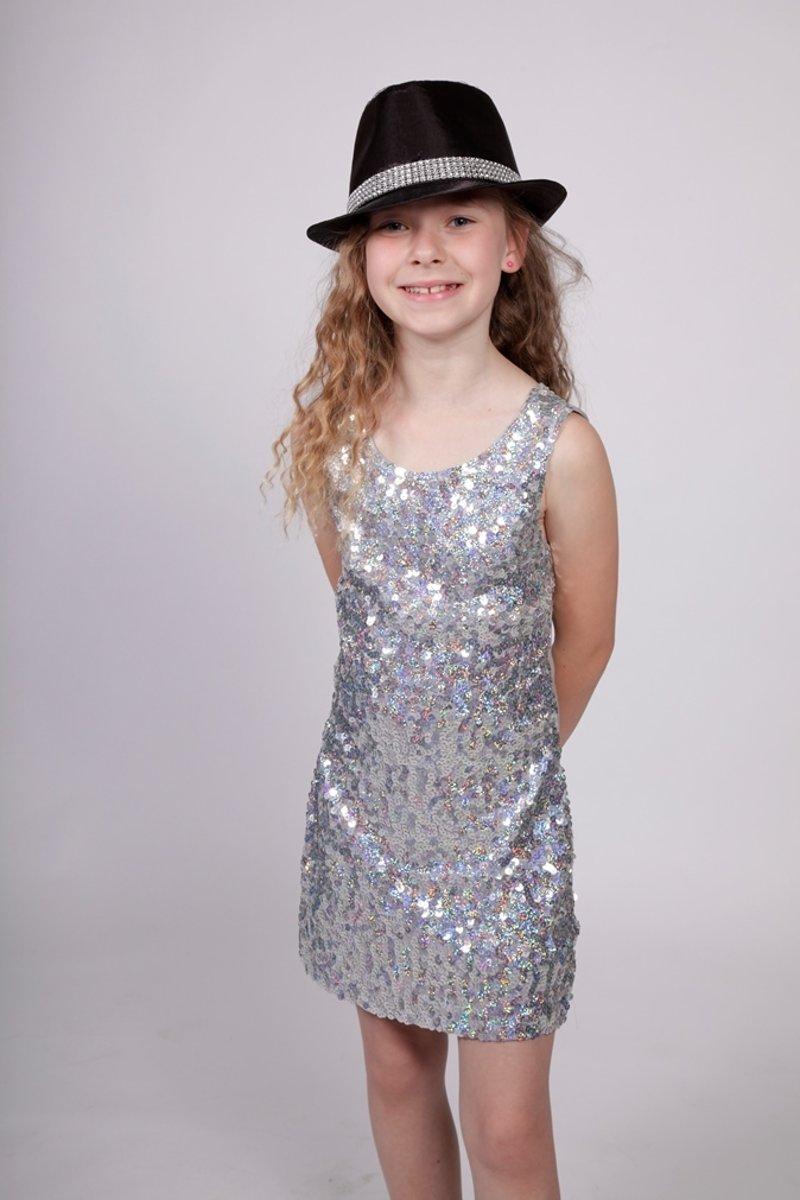 Pailletten disco jurkje kind, zilver