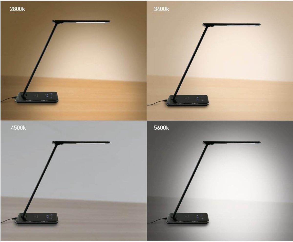Bol bureaulamp led zwart dimbaar qi oplaad charger