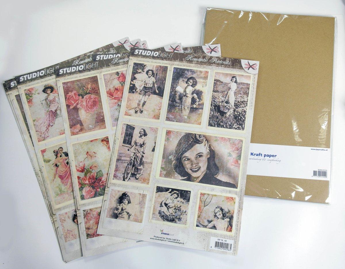 Joycrafts & studio light papierset: Vintage romantic 1000/0022
