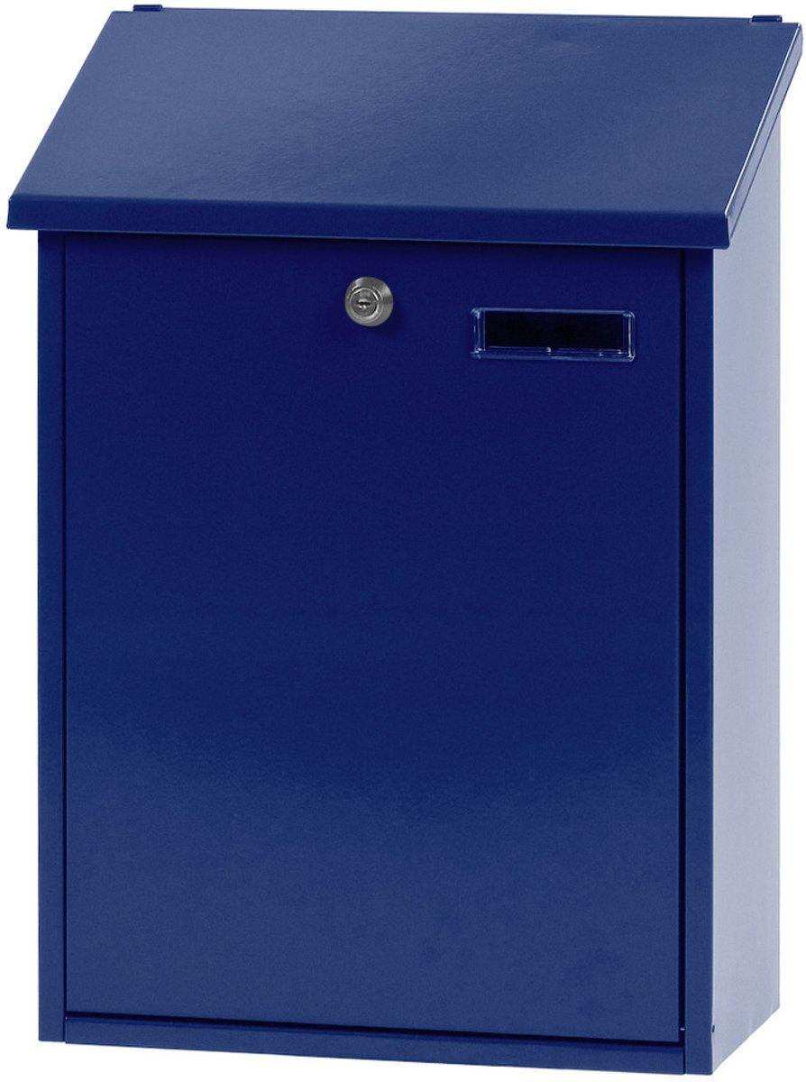 Stalen brievenbus blauw - 32,5x16x44,5 cm