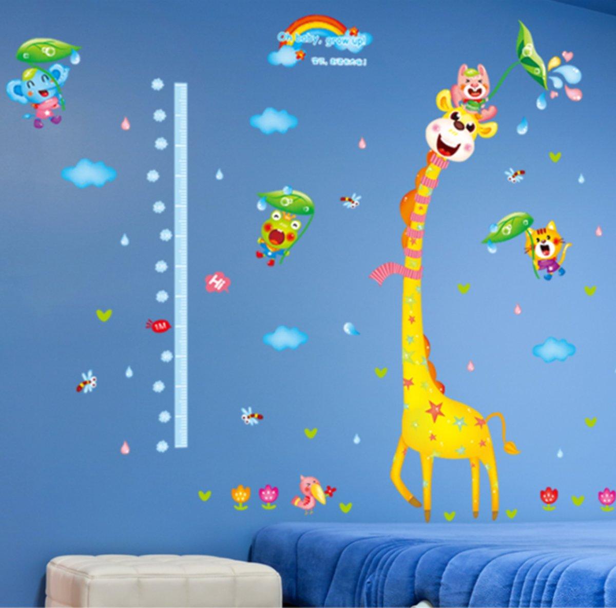Muursticker Wereldkaart Krijt.Top Honderd Muursticker Groeisticker Voor Kinderkamer 60x95cm
