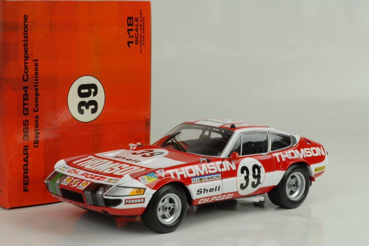 "Ferrari 365 GTB4 Daytona Competizione #39.""Thompson"" Le Mans 1973 Rood / Wit 1-18 Kyosho"
