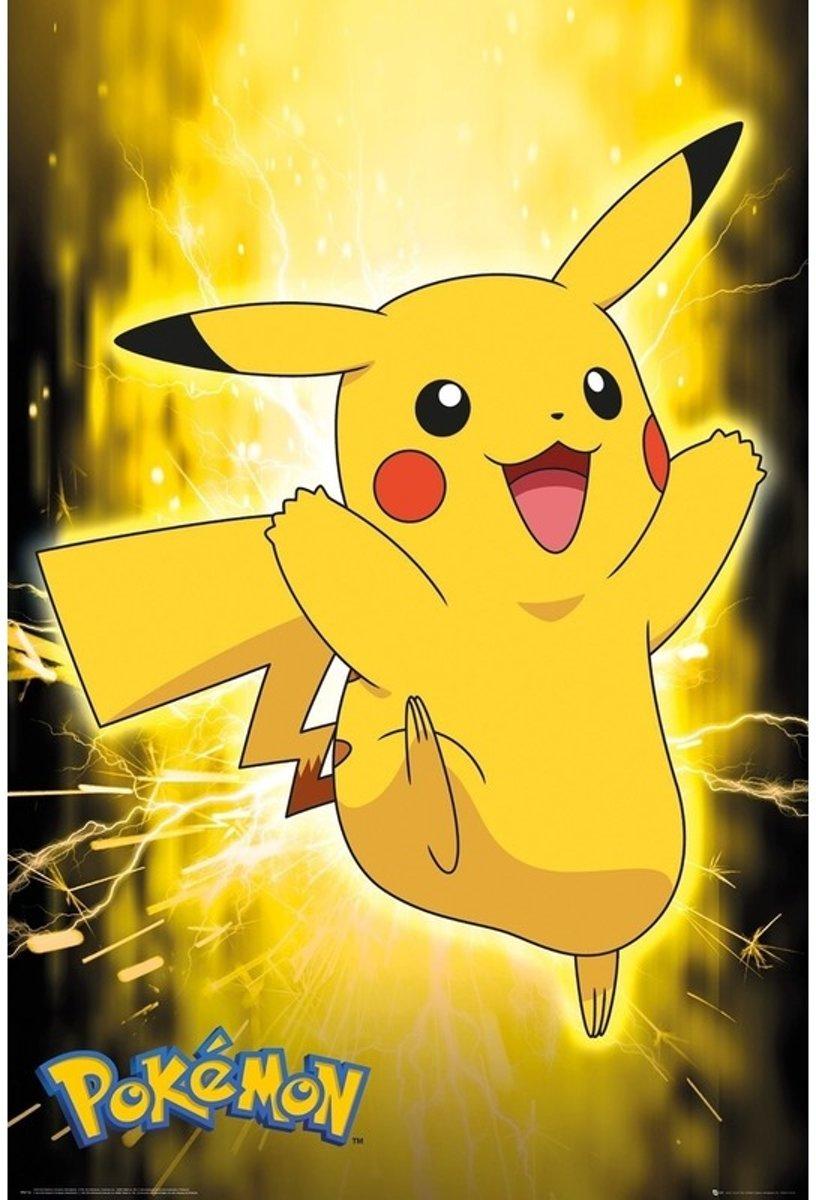 Poster Pokemon Pikachu neon 61 x 91 cm - Pokemon thema posters - Wanddecoratie/Muurdecoratie voor de kinderkamer kopen