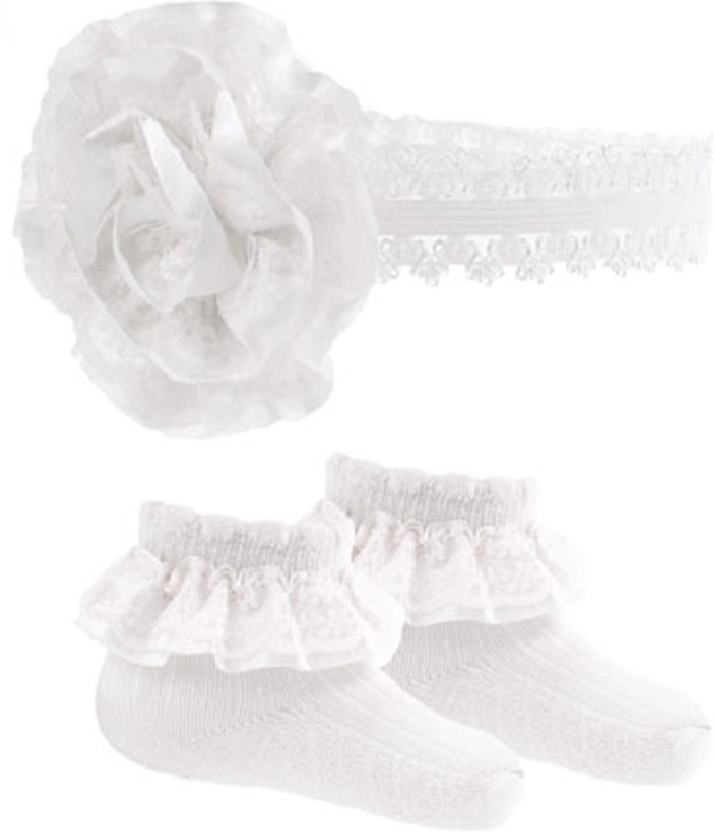 Soft Touch - BABY SET: Sokjes + Haarband WIT (3-6 mnd)