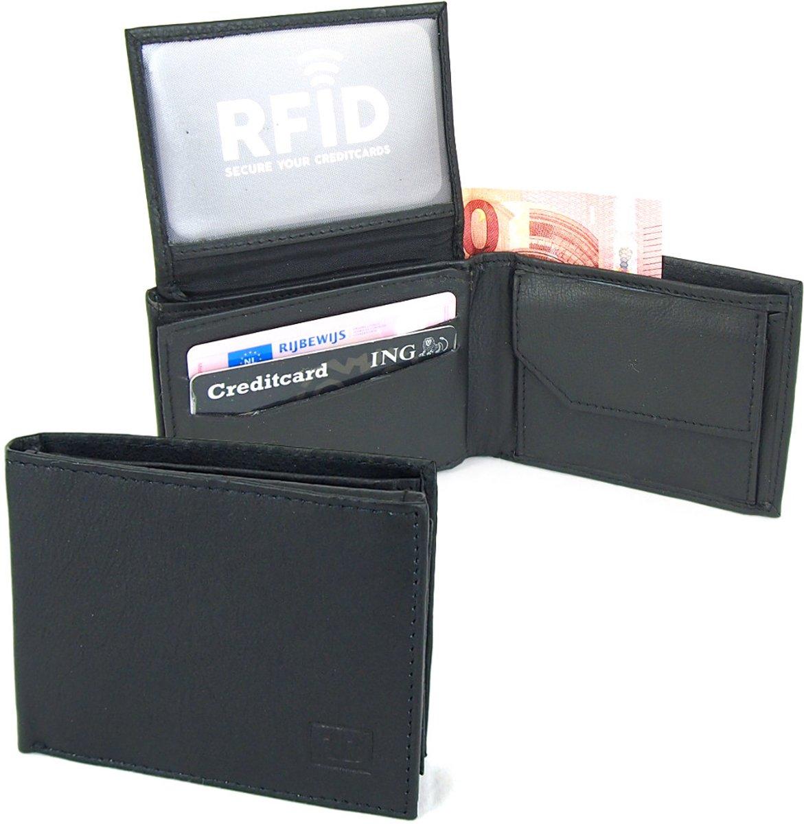 d227a65eb45 ... Businessme Kleine Portemonnee - Billfold Portemonnee - Leer - RFID  Portemonnee - Zwart - 8 Pasjes ...