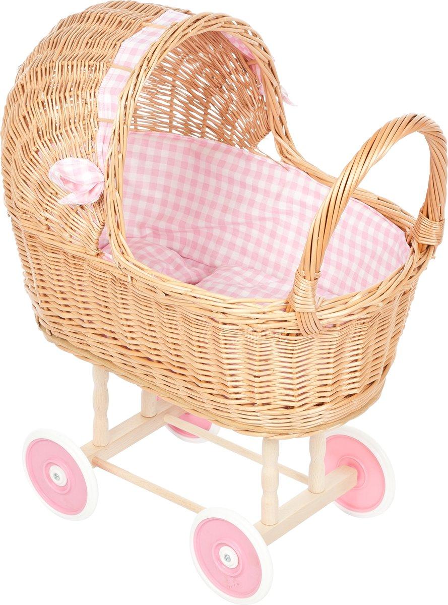 Playwood Rieten Poppenwagen - Roze ruitjes - Rieten kap - Plastic wielen