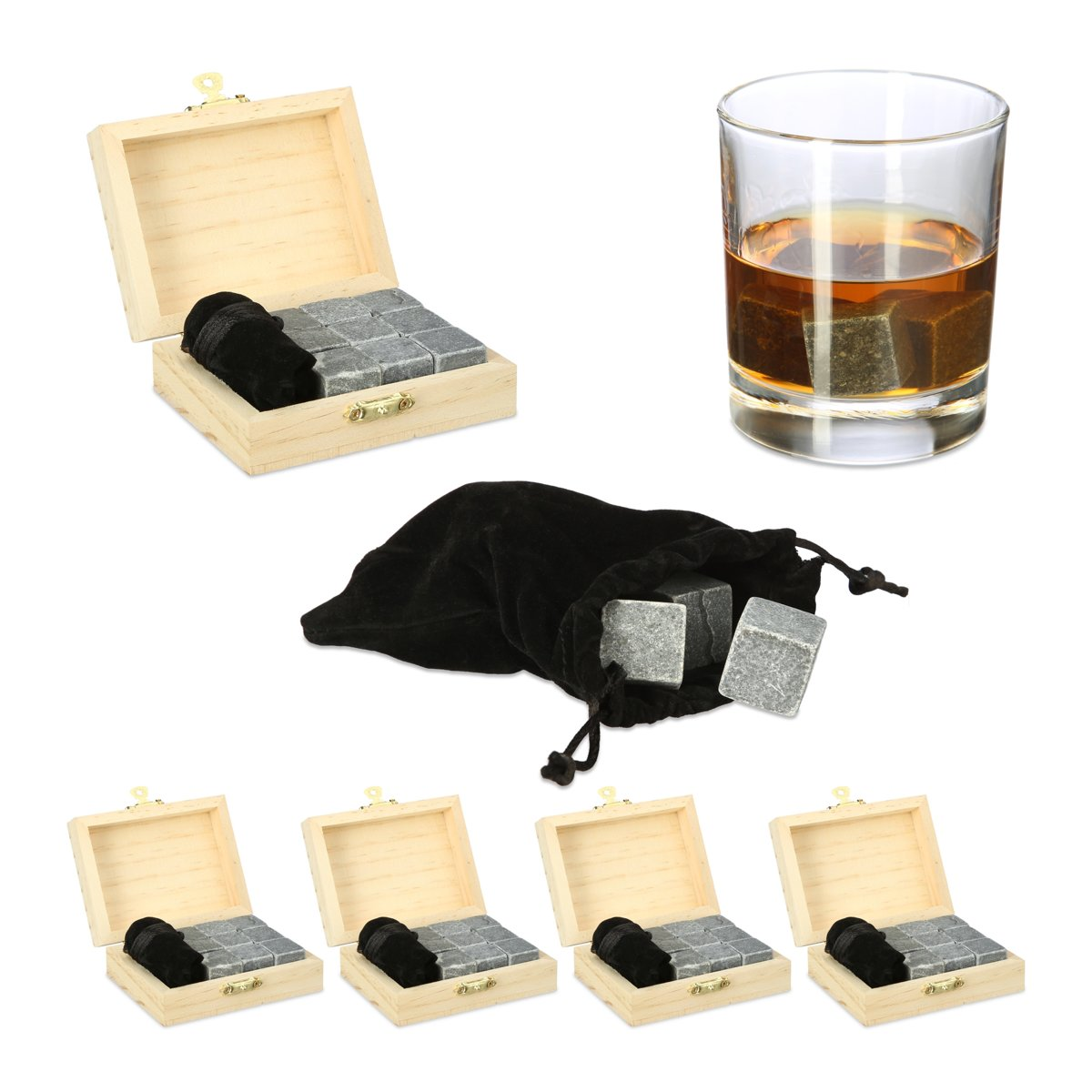 relaxdays 45 x Whiskey stenen - herbruikbare ijsblokjes - whiskeystenen kistje antraciet kopen