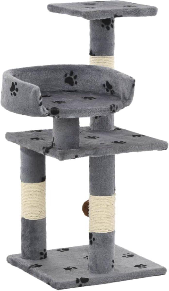 vidaXL Kattenkrabpaal met sisal krabpalen 65 cm pootafdrukken grijs