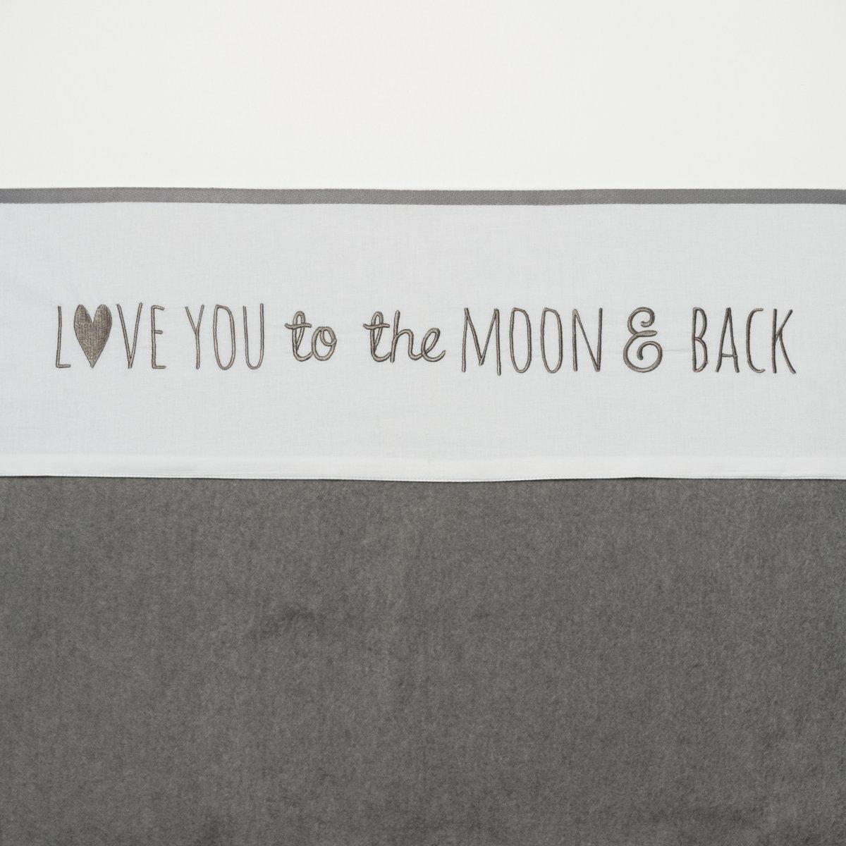Meyco wieglaken Love you to the moon & back - 75 x 100 cm - grijs