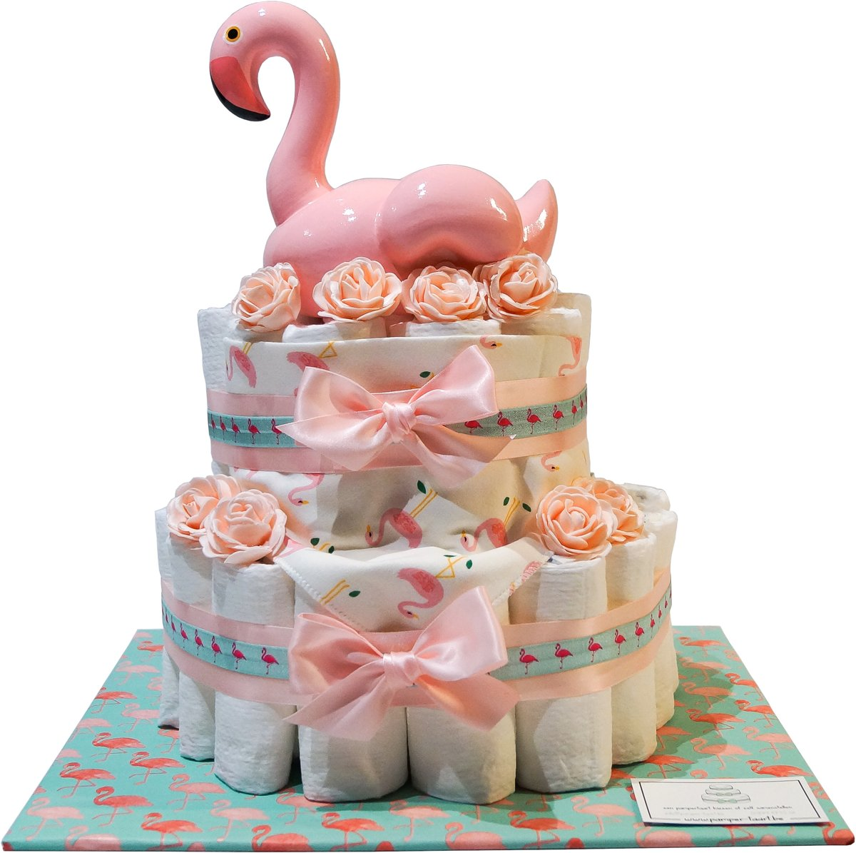 Luiertaart - Pampertaart Meisje Flamingo - 47 Pampers - Roze