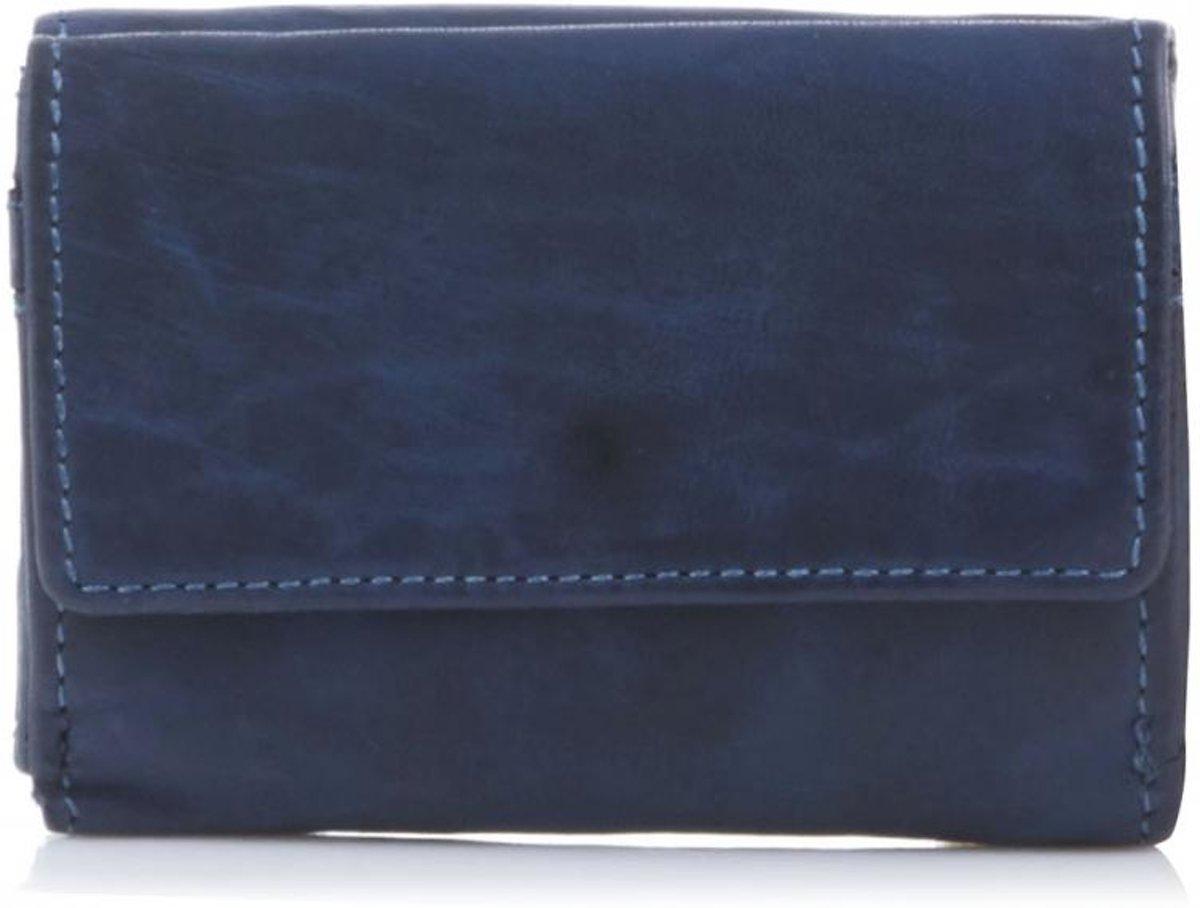 Bear Design Compacte Portemonnee met Overslag Cow Lavato Blauw