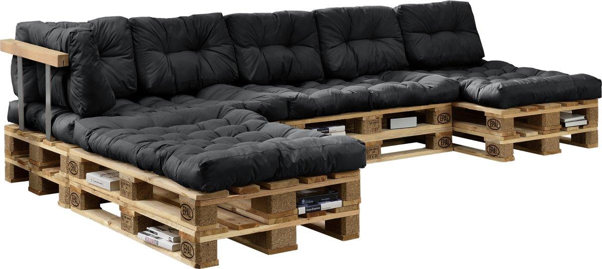Kussens set-binnenshuis - zitkussen +rugkussen-4x+6x-grijs