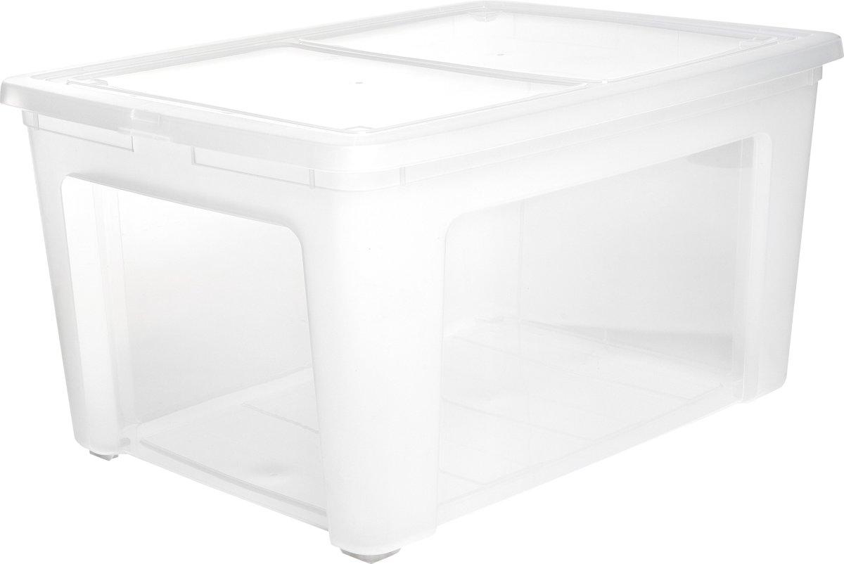 IRIS Clearbox Opbergbox - 140 l - Kunststof - Transparant met zwarte wieltjes kopen