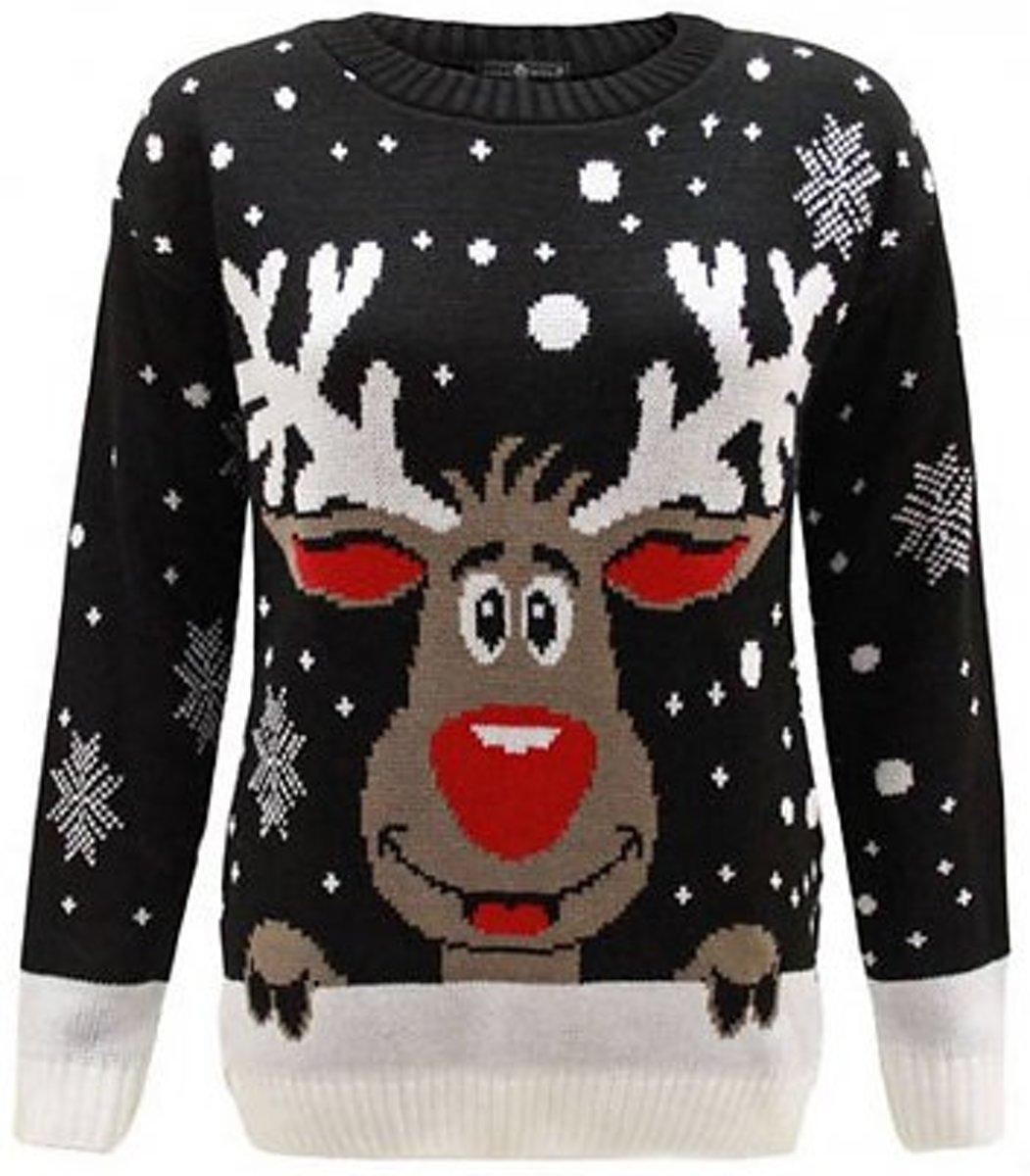 Leuke Kersttrui.Bol Com Foute Kersttrui Zwart Rendier Maat M L Tibri