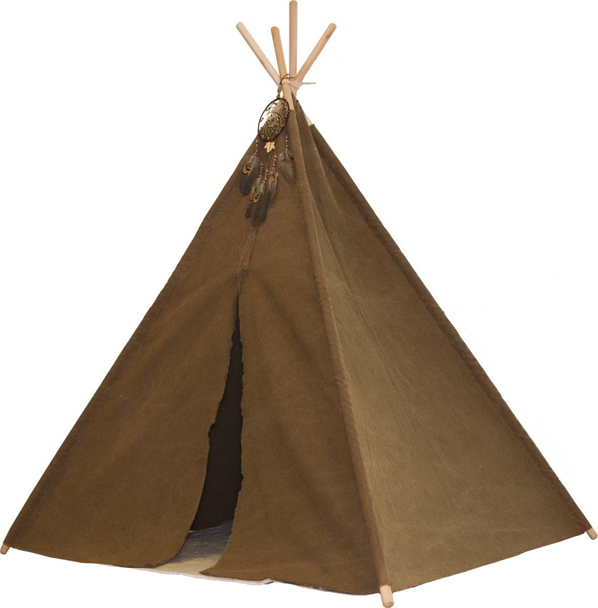 Indian Teepee Tent - Tipi tent met Kleed & Droomvanger - Indianentent - Bruin - FSC houten palen