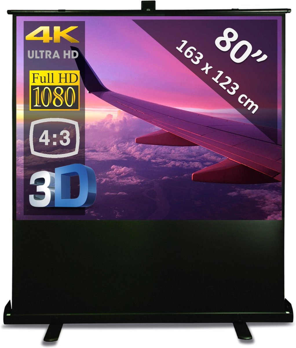 "Vloerscherm 80"" - 2m03  (floor pull up system) - 163 x 123 cm (4:3) kopen"