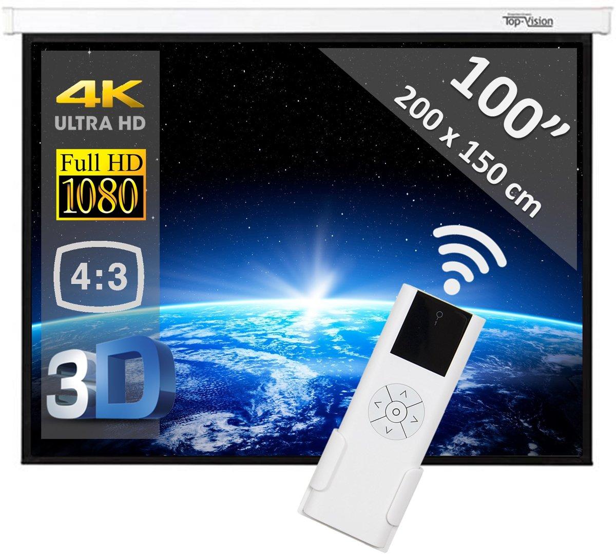 """Elektrisch projectiescherm met afstandsbediening (4:3) - 100"""" - 2m54 kopen"""
