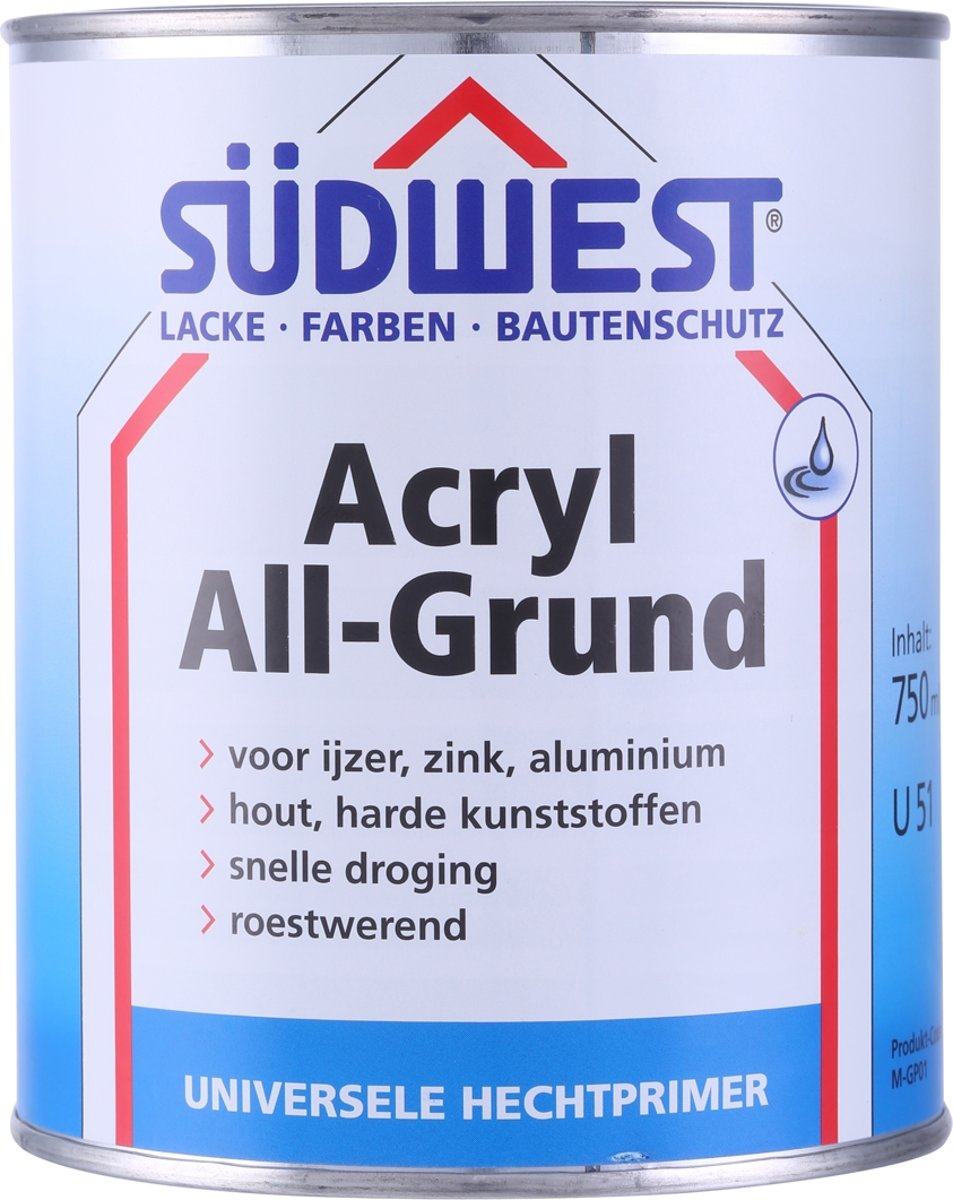 Sudwest All-Grund Acryl Zwart 750 ml
