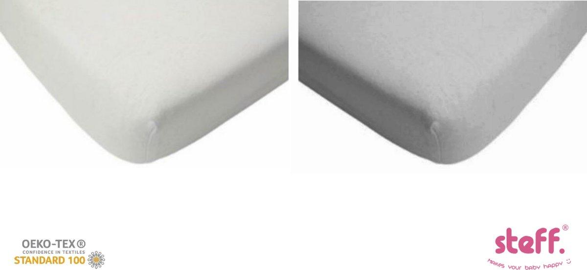 Steff - hoeslaken 70x140 cm - jersey katoen set van 2 wit + grijs met kwaliteitslabel OEKO-Tex standard 100