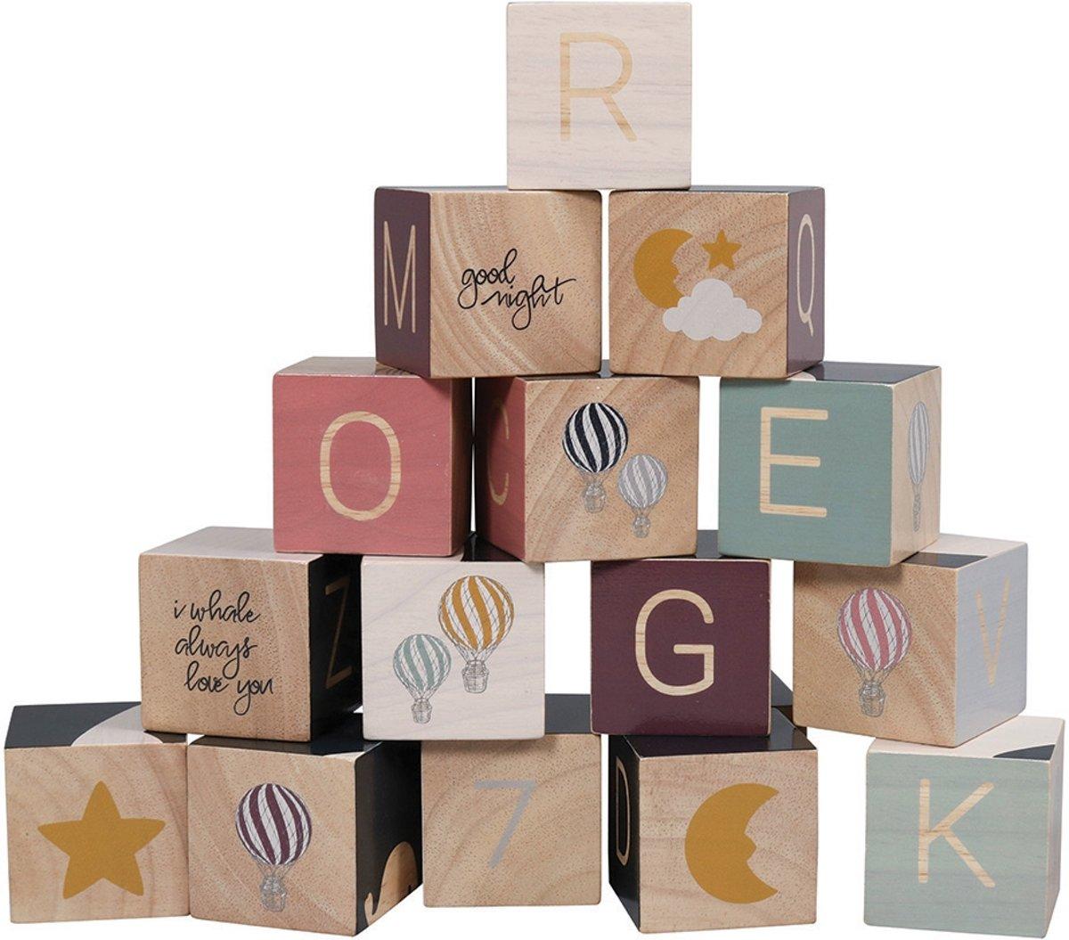 Filibabba - Houten speelgoed - 16 houten blokken - One size