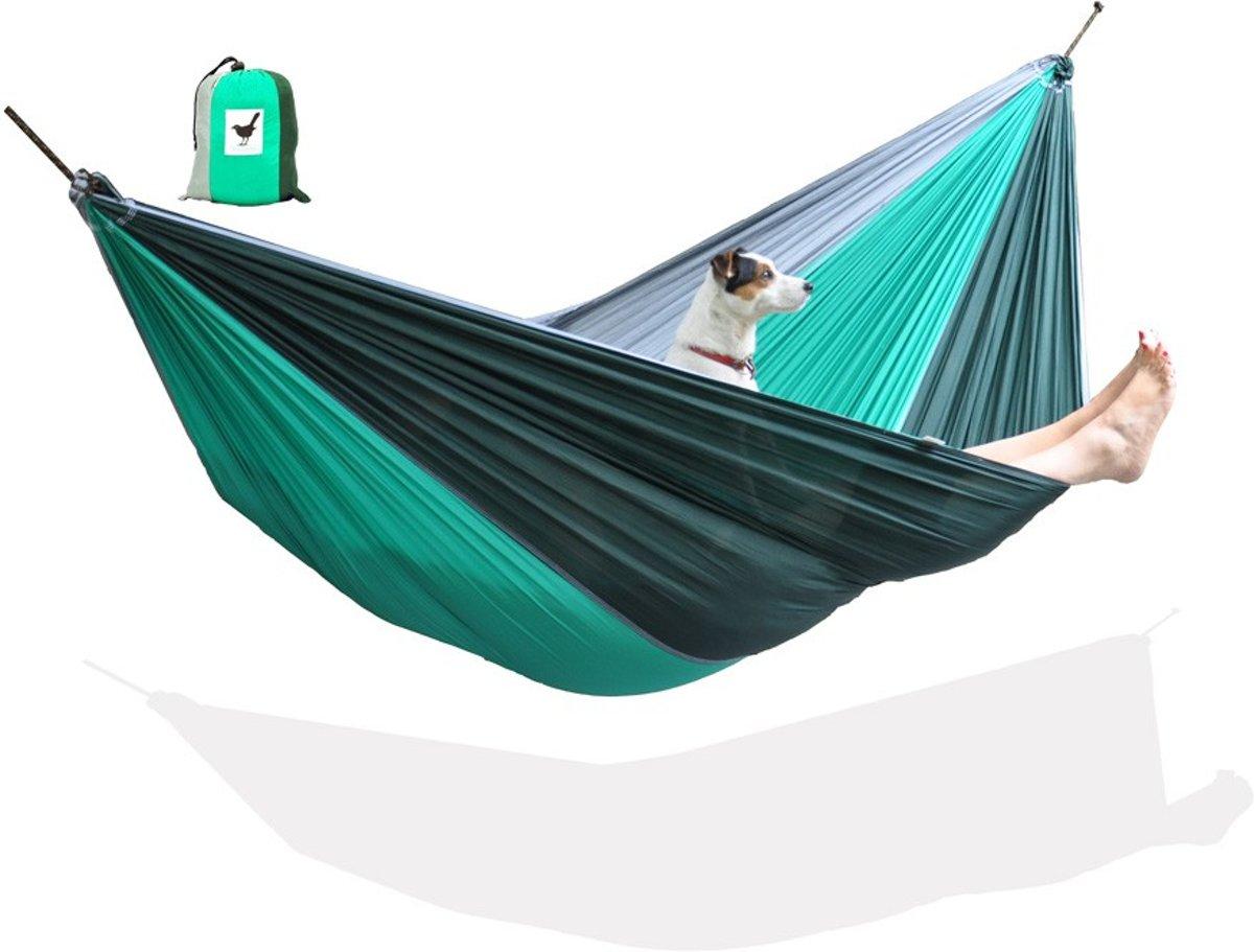 MoreThanHip Hangmat - Groen/Grijs - Parachutestof