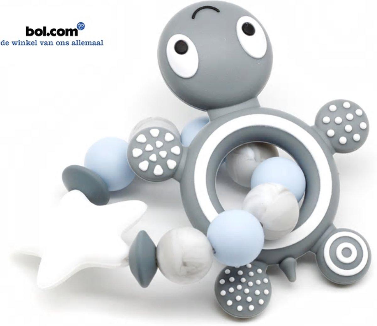Bijtring voor baby's | Speelgoed | Schildpad | Blauw, grijs en wit | Tandjes | kopen